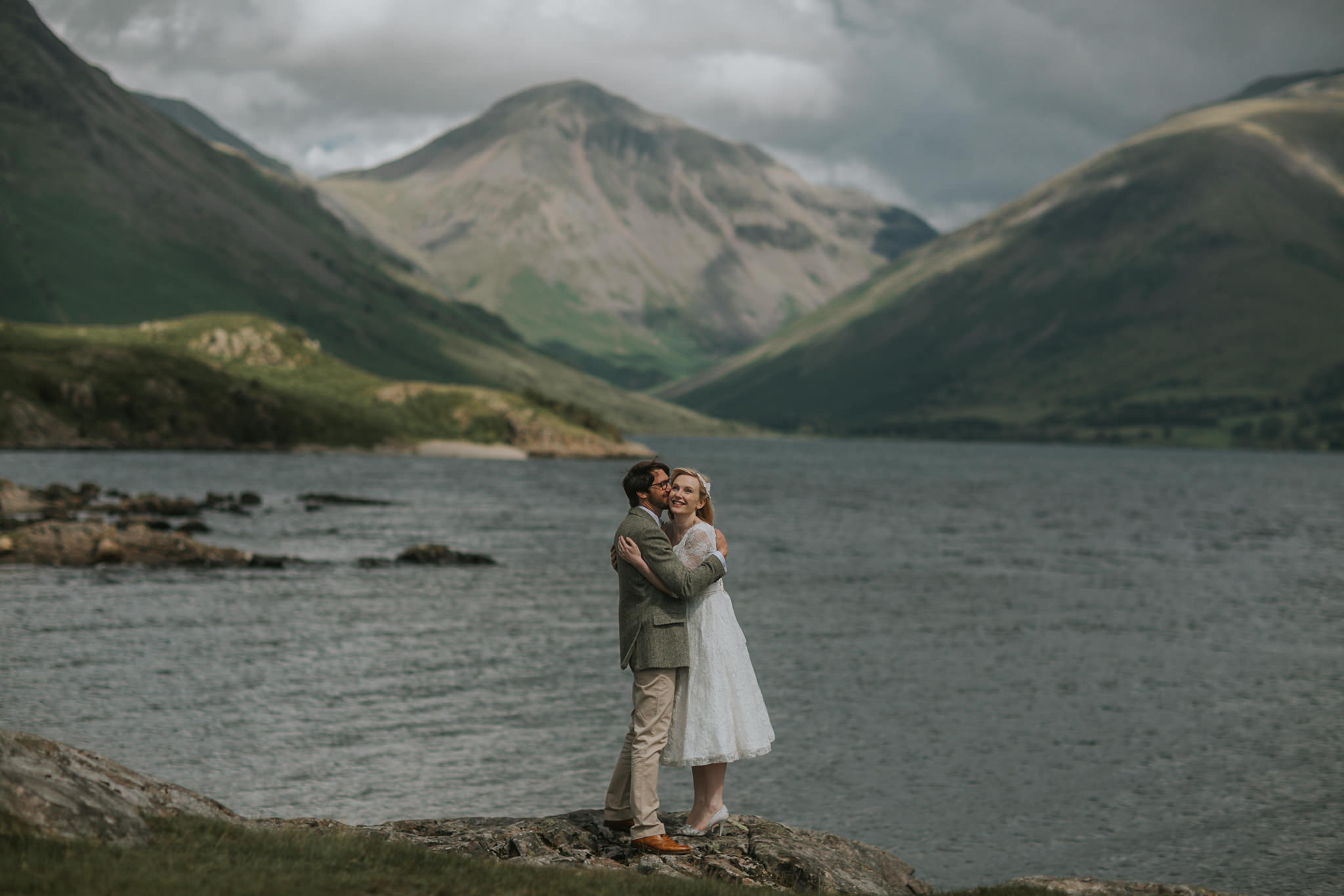 Embracing together in Langdale Valley