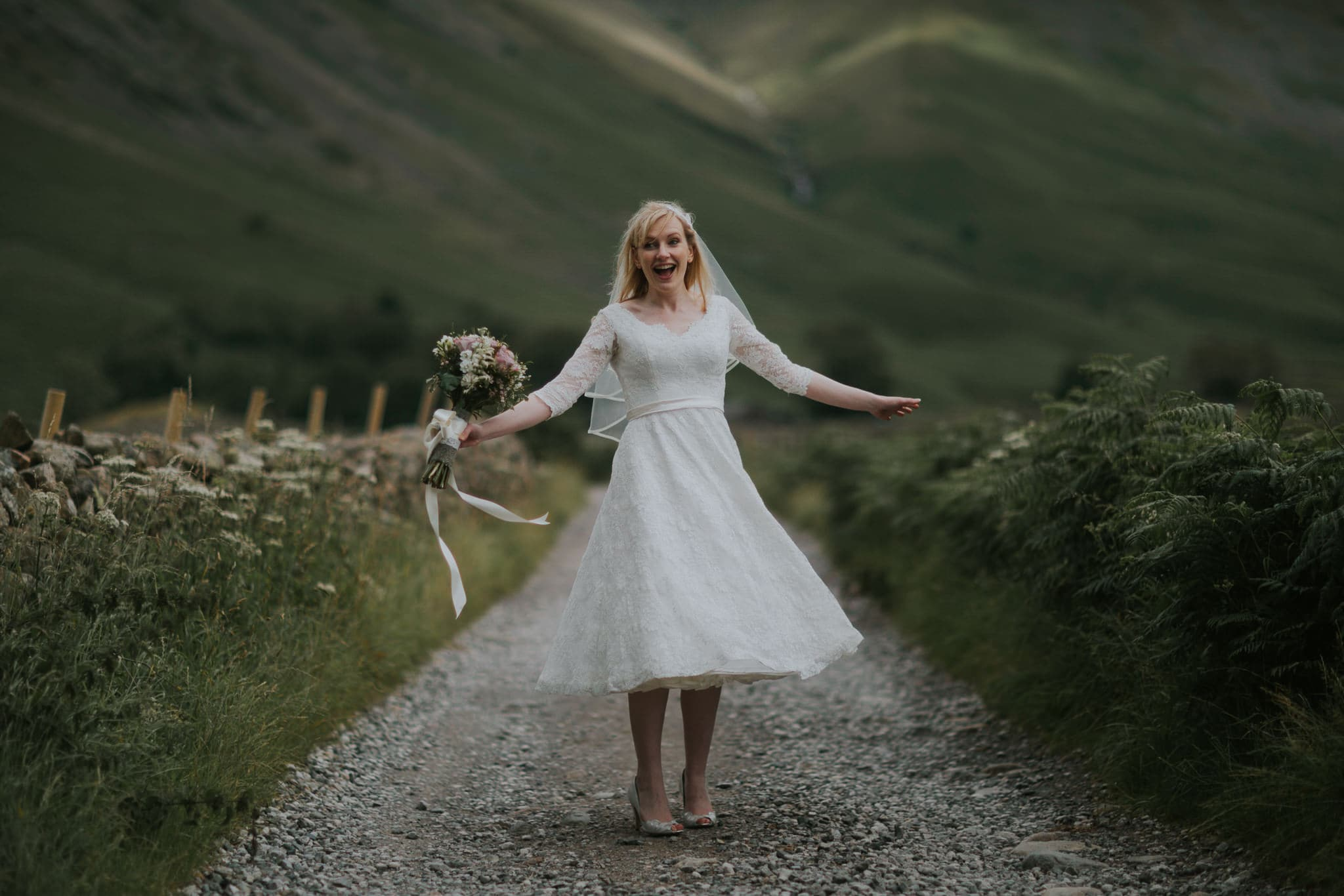 Happy Bride in Langdale Valley