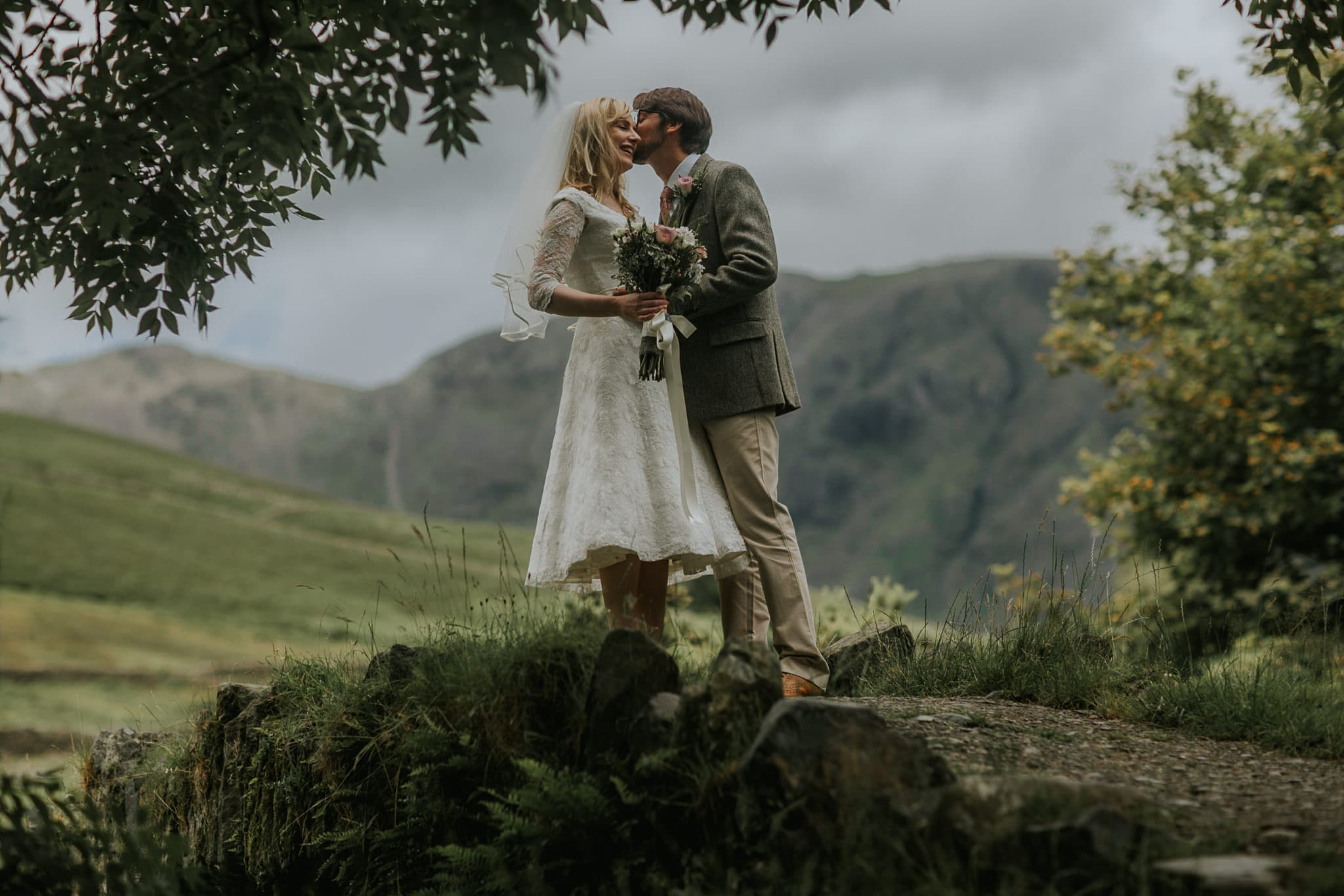Kissing on the bridge in the Lake District