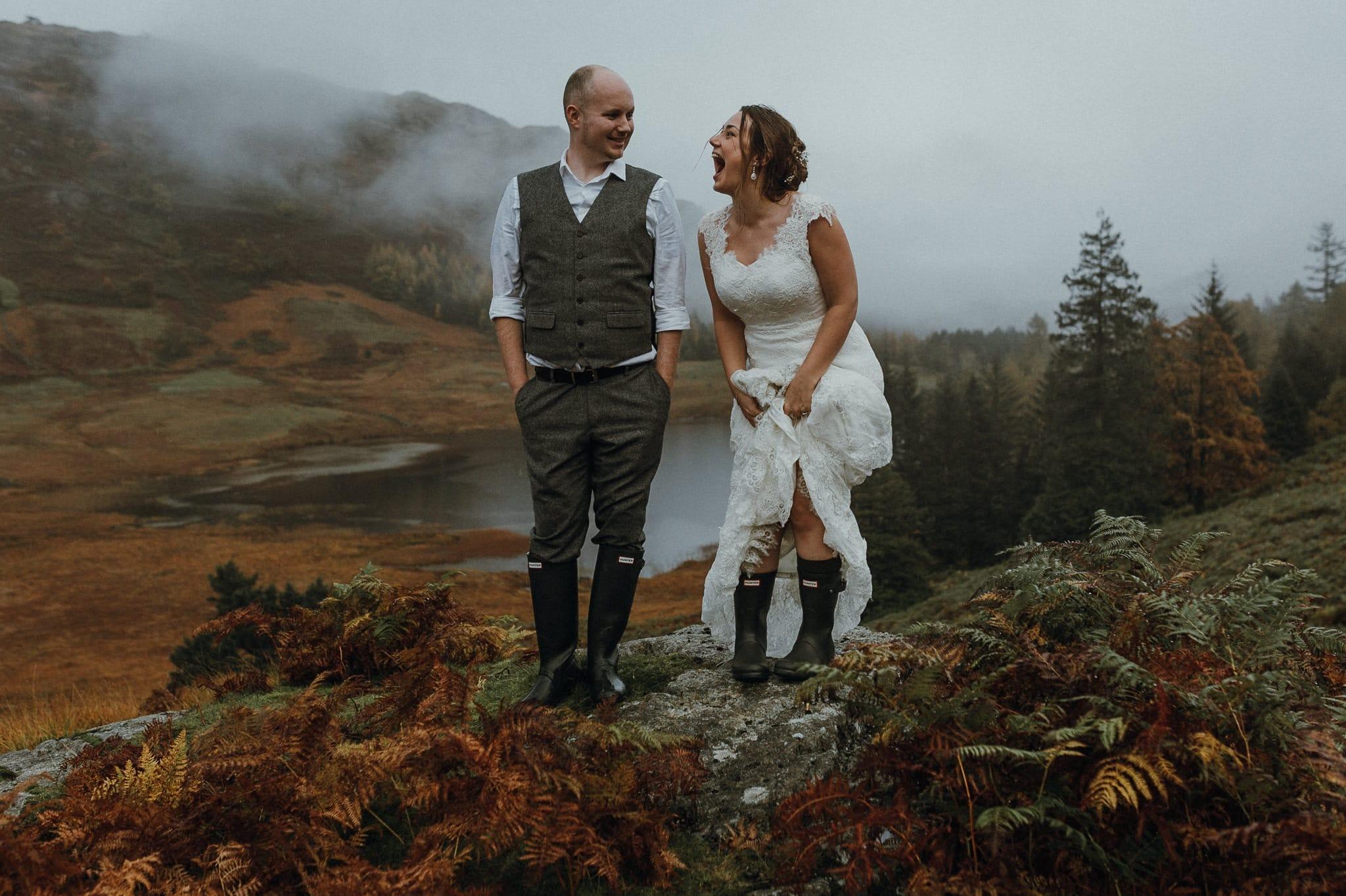 Bride and Groom Laughing in Blea Tarn