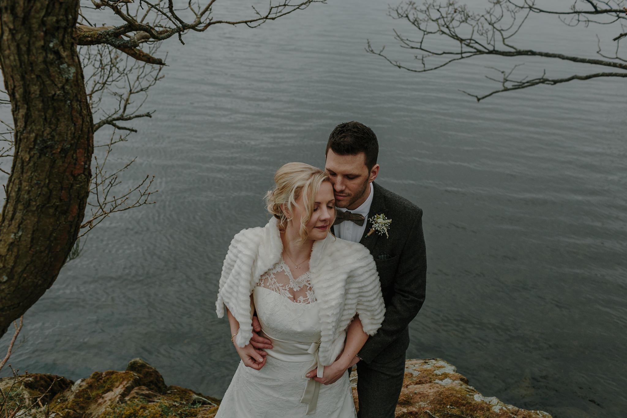 Bride and Groom by Lake Windermere
