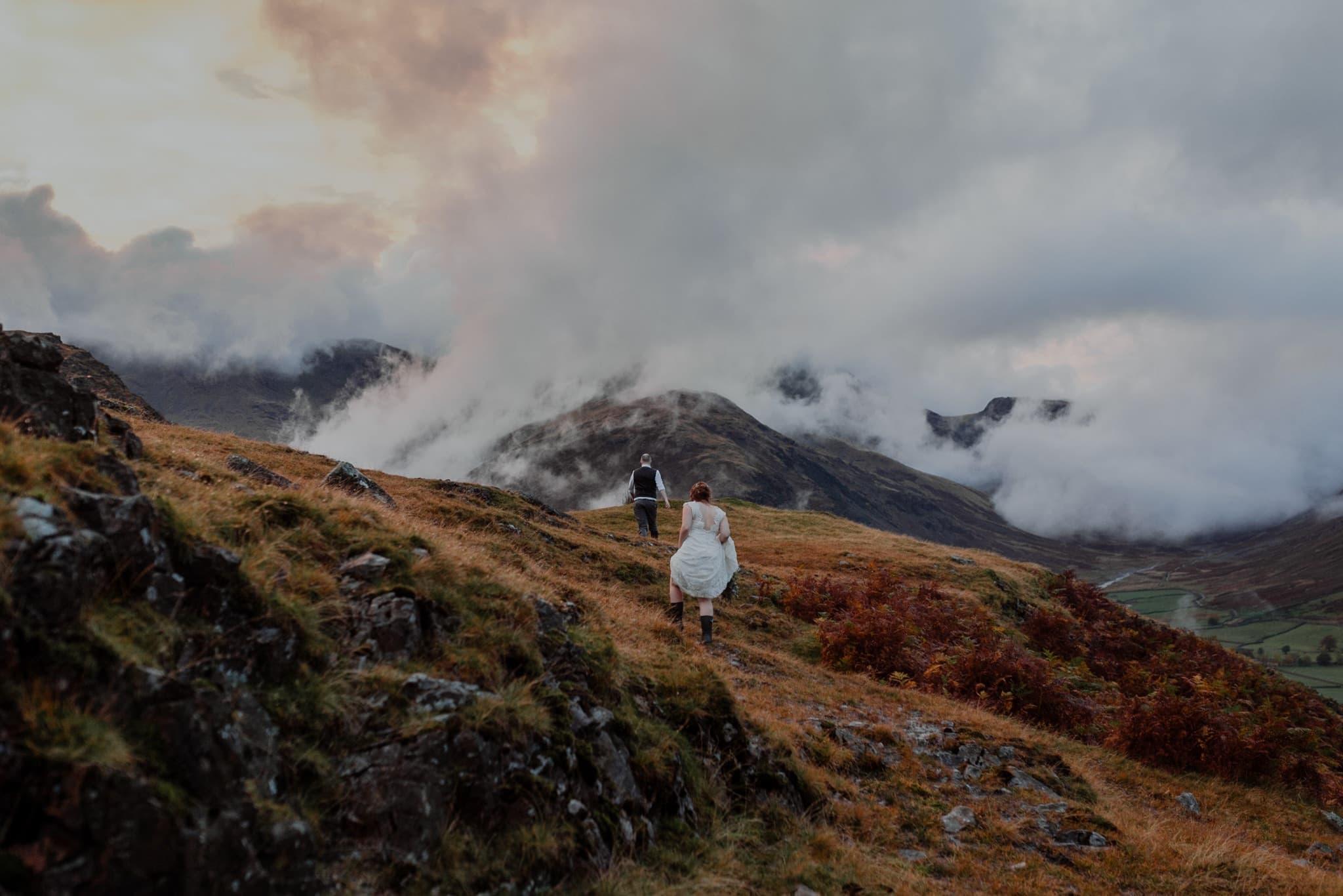 Bride and Groom Climbing up Blea Tarn