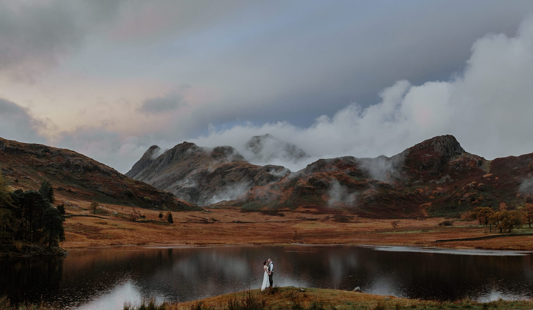 Bride and Groom with Romantic Lake District Mountains