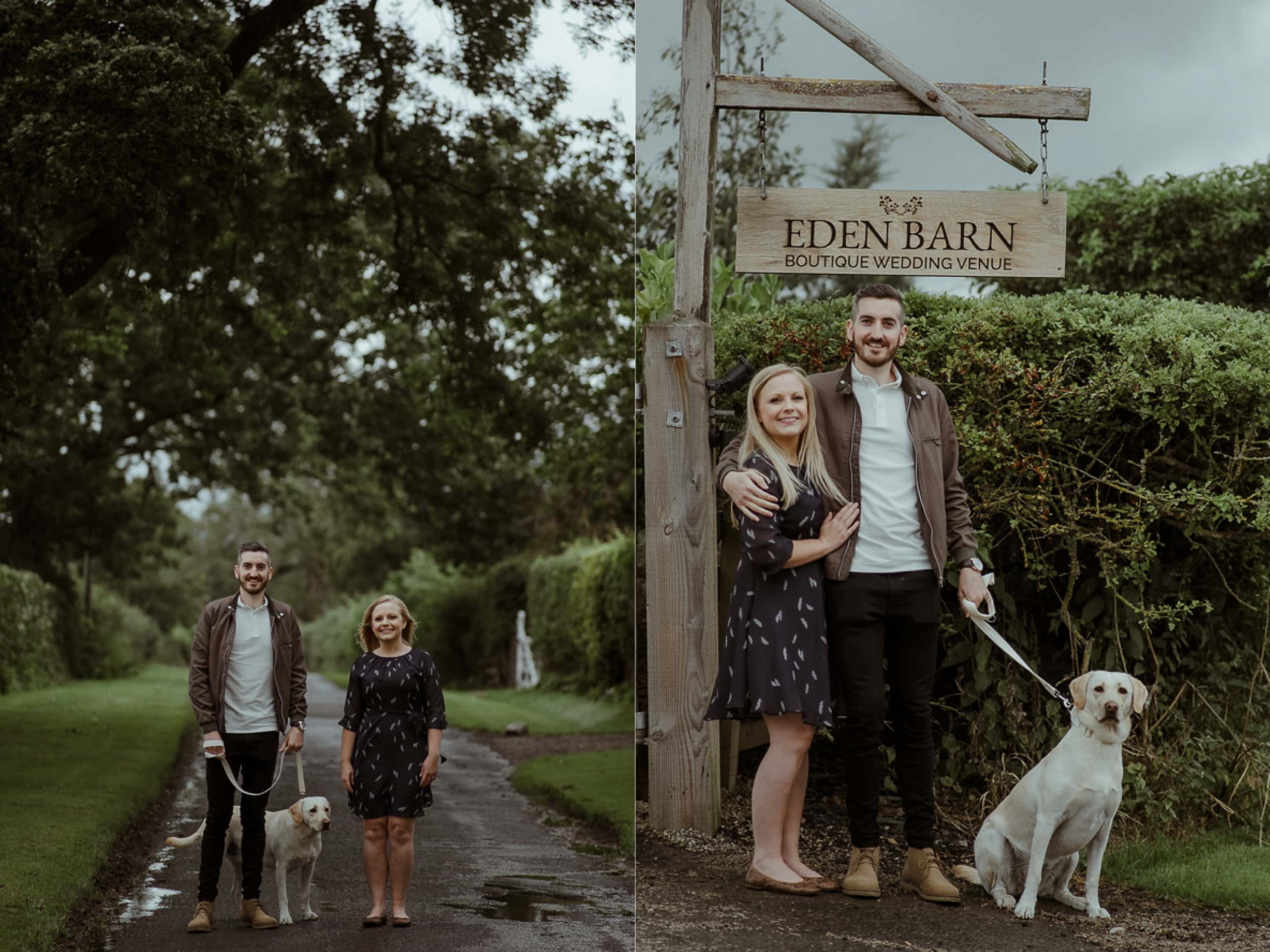 Couple Outside Eden Barn Wedding Venue